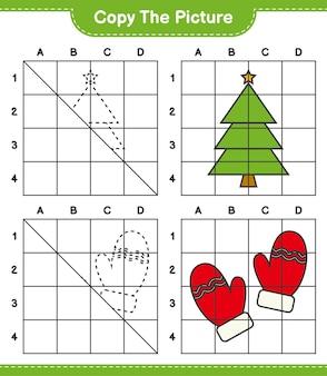 Copie a imagem do jogo de planilha educacional da árvore de natal e da luva usando linhas de grade