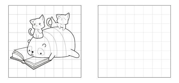 Copie a imagem do panda e os gatos lendo o desenho do livro