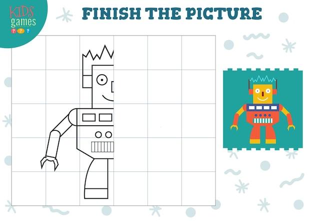 Copie a imagem. jogo completo e colorido para crianças em idade pré-escolar e escolar. contorno de robô humanóide fofo para atividades de desenho e educação