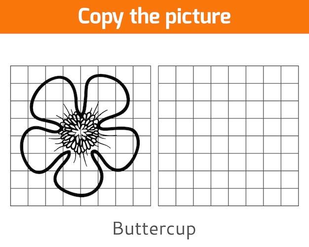 Copie a imagem, jogo educativo para crianças, buttercup