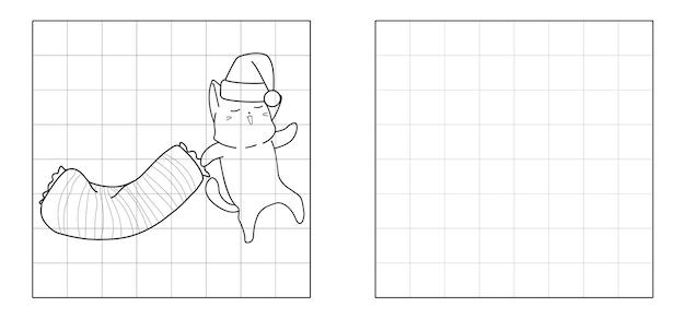 Copie o desenho do gato indo para a cama