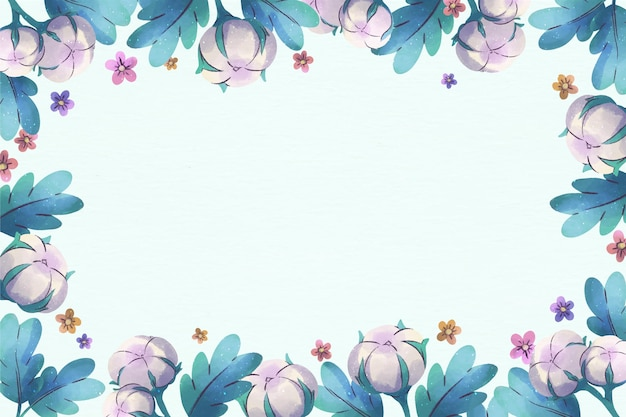 Copie o espaço com fundo floral azul pastel