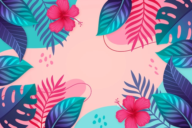 Copie o espaço folhas tropicais zoom fundo