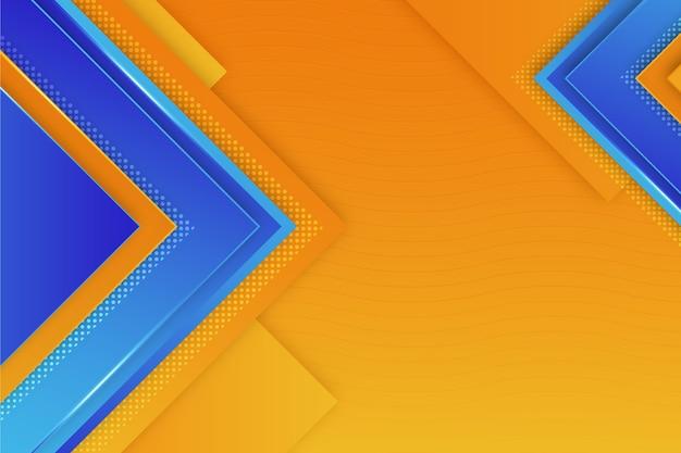 Copie o espaço poligonal fundo azul e laranja