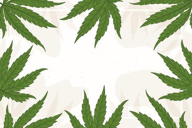 Copie o fundo da folha de cannabis no espaço