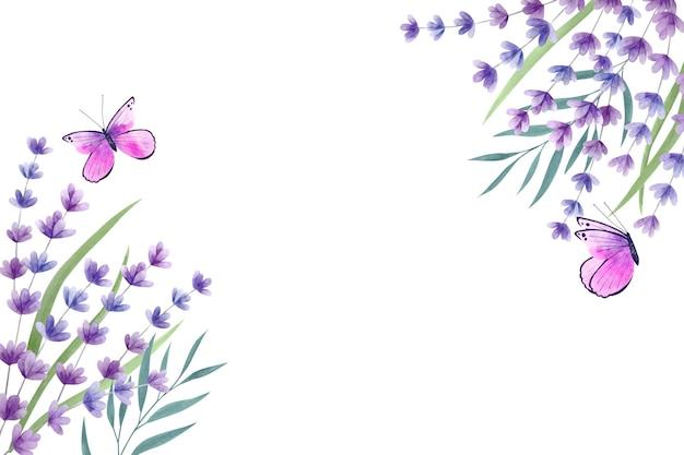 Copie o fundo da primavera do espaço e borboletas violetas