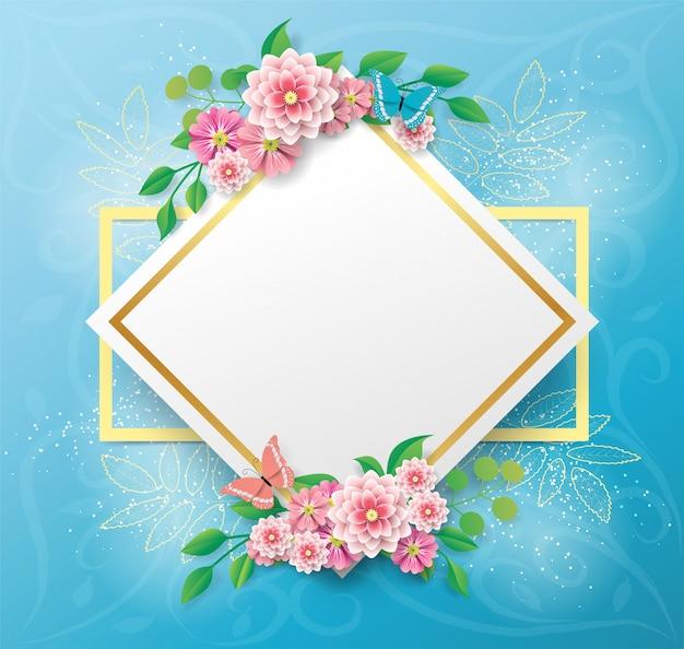 Copie o fundo do espaço com a flor e a borboleta bonitas e coloridas
