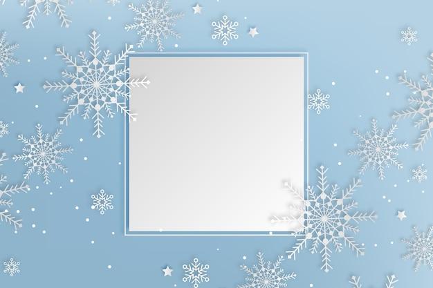 Copie o fundo do espaço de inverno em estilo de papel e flocos de neve
