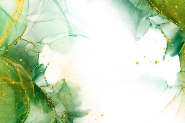 Copie o fundo verde abstrato do espaço com elementos brilhantes