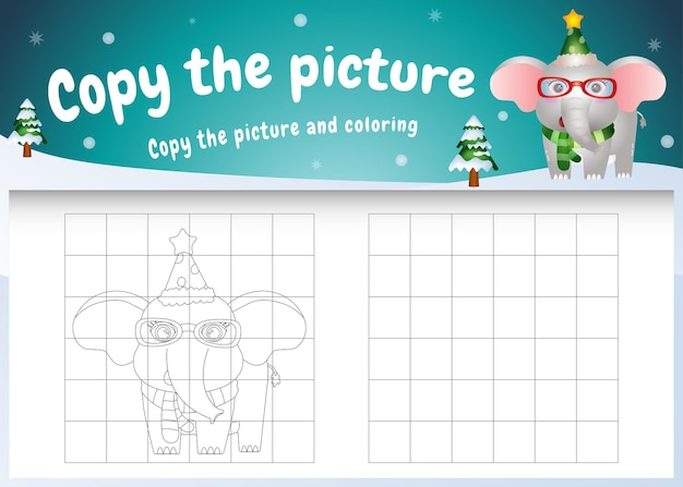 Copie o jogo de imagens para crianças e a página para colorir com um elefante fofo usando uma fantasia de natal