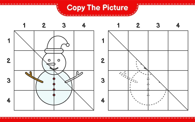 Copie o jogo de planilha educacional de boneco de neve usando linhas de grade