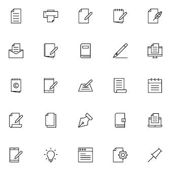 Copie o pacote de ícones para escrever, com o estilo do ícone de contorno