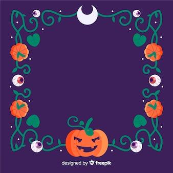 Copie o quadro de halloween do espaço com linhas de abóbora e tribais