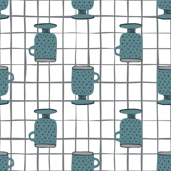 Copo azul marinho doodle padrão sem emenda. fundo branco com cheque. impressão de ornamento de cozinha.