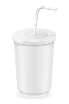 Copo branco de ilustração vetorial de água com gás