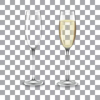 Copo cheio e vazio de champanhe