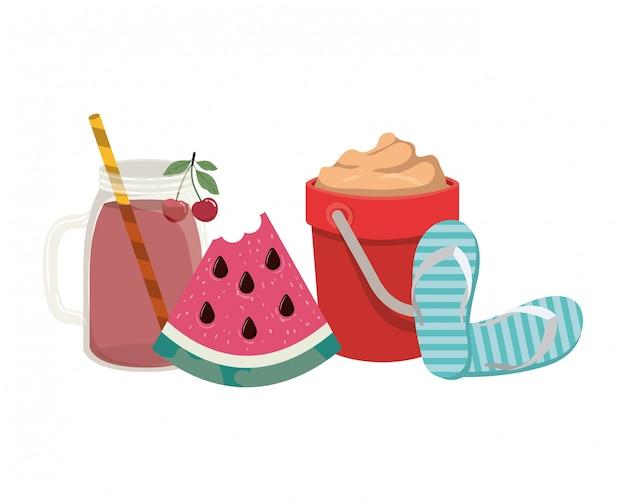 Copo com bebida refrescante para o verão
