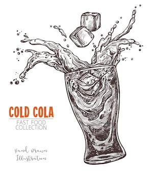 Copo com coca-cola salpicada e cubo de gelo, esboço desenhado de mão no antigo estilo de gravura.