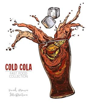 Copo com respingos de cola e cubos de gelo, refrigerante gelado. esboço desenhado de mão da bebida clássica de fast food.