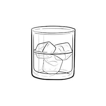 Copo de água com cubos de gelo ícone de doodle de contorno desenhado de mão. ilustração em vetor desenho de copo de água para impressão, web, mobile e infográficos isolados no fundo branco.