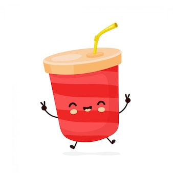 Copo de água com gás feliz fofo. personagem de desenho animado.