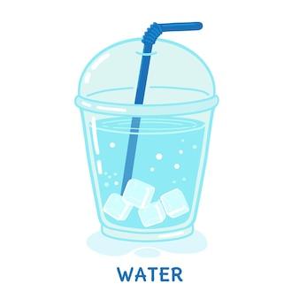 Copo de água com gelo e palha ilustração vetorial isolado no fundo branco