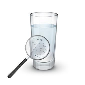 Copo de água com lupa e bactérias microscópicas em fundo branco