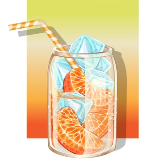Copo de água fresca com infusão de laranja fresca e cubos de gelo decorado com canudo