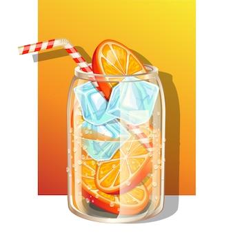 Copo de água fresca com infusão de limão fresco e cubos de gelo decorado com canudo