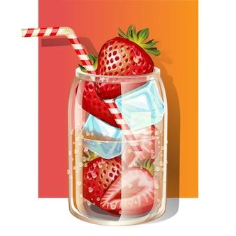 Copo de água fresca com infusão de morangos frescos e cubos de gelo decorados com canudo