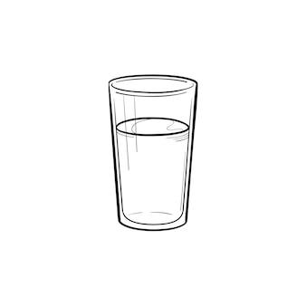 Copo de água mão desenhada contorno doodle ícone. ilustração em vetor desenho de copo de água com gás para impressão, web, mobile e infográficos isolados no fundo branco.