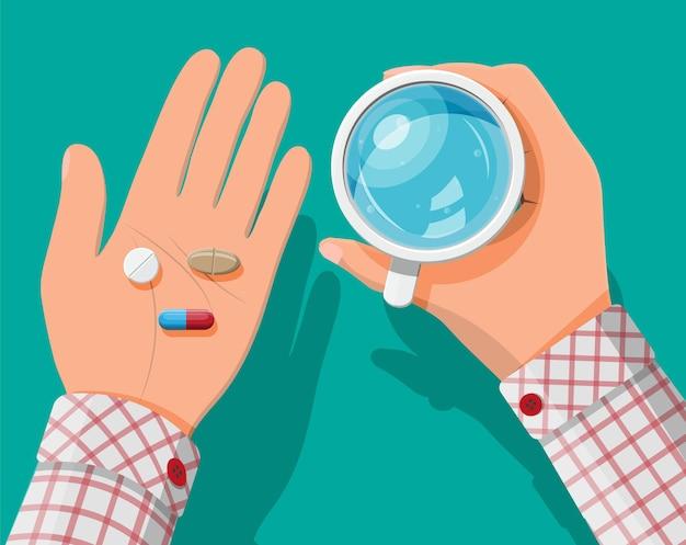 Copo de água na mão, comprimidos, cápsulas para tratamento de doenças e dores.