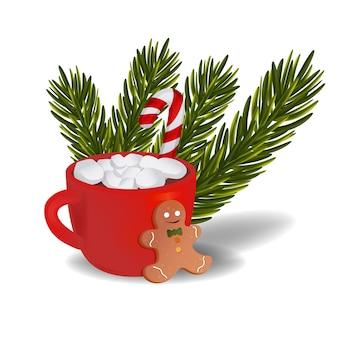 Copo de ano novo com biscoitos de chocolate quente de natal e um galho de árvore do abeto.