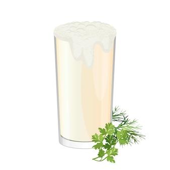 Copo de ayran com ervas endro e salsa isolado no branco. bebida de iogurte frio doogh ou tan misturada com sal. bebida refrescante feita pela mistura de iogurte com água gelada ilustração realista