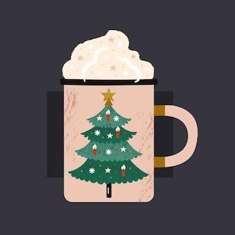 Copo de bebida quente com estampa de árvore de natal.