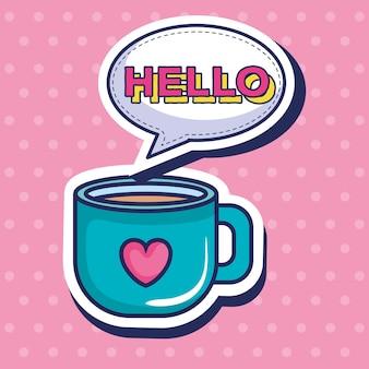 Copo de café com coração estilo pop art