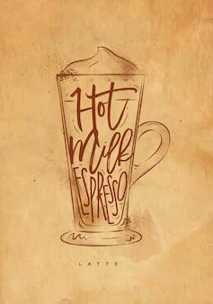 Copo de café com leite em espuma para letras, leite quente, expresso em estilo gráfico vintage, desenho com artesanato