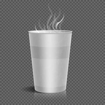 Copo de café de papel afastado descartável com o vapor isolado no fundo checkered. vector illustratio