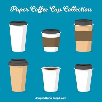 Copo de café de papel plano