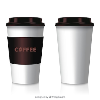 Copo de café de papel realista