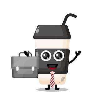Copo de café de plástico mascote de personagem fofo