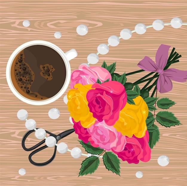Copo de café e buquê de flores vector. vista do topo