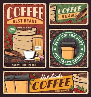 Copo de café e saco de grãos torrados banners de bebidas quentes ou bebidas Vetor Premium