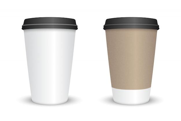 Copo de café em branco realista conjunto isolado. ilustração vetorial
