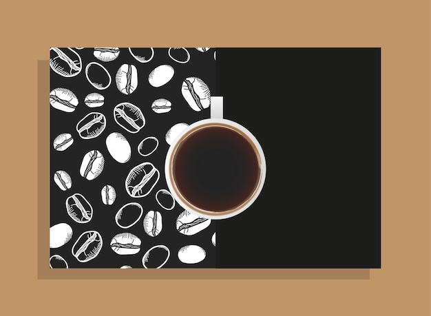 Copo de café em pôster preto com tema de feijão