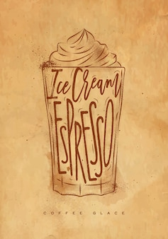 Copo de café glace com letras de sorvete, expresso em estilo gráfico vintage, desenho com artesanato