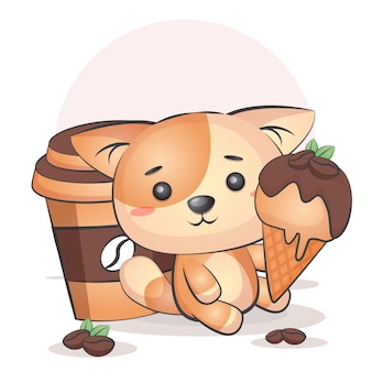 Copo de café kawaii e gato tomando sorvete