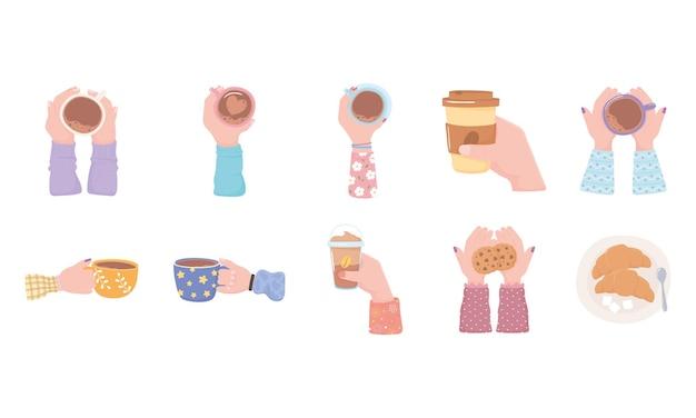 Copo de café nas mãos, ícones de café da manhã de croissant de biscoitos de bebidas quentes