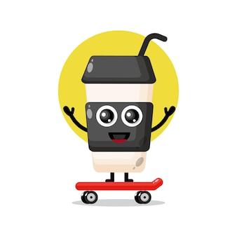 Copo de café plástico skate mascote personagem fofa