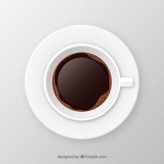 Copo de café realista com vista superior